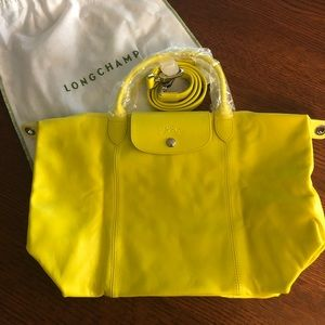 Longchamp Le Pliage Yellow Crossbody Leather Purse